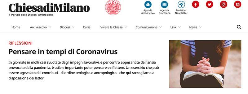 Riflessioni in tempo di Coronavirus